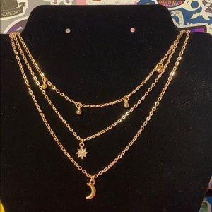 5/$25 Layered Sun & Moon Necklace